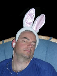 Sean bunny ears sleeping