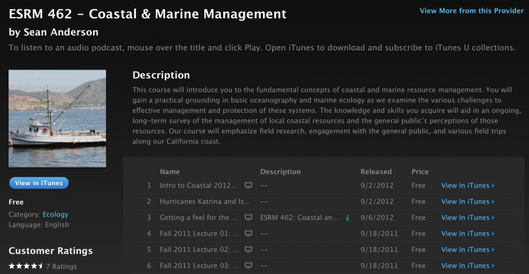 iTunesU Coastal page